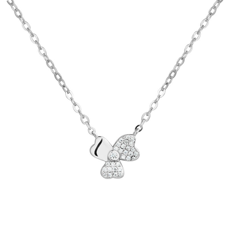wholesale fashion shamrock 925 sterling silver zircon necklace for women