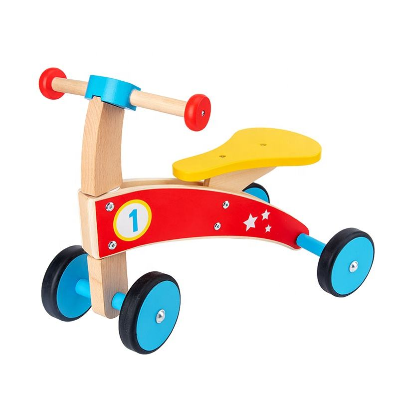 Kids Wooden Toy Baby Ride Four Wheeled Wooden Push Balance Bike Toy for Toddlers with Rubberized Wheels