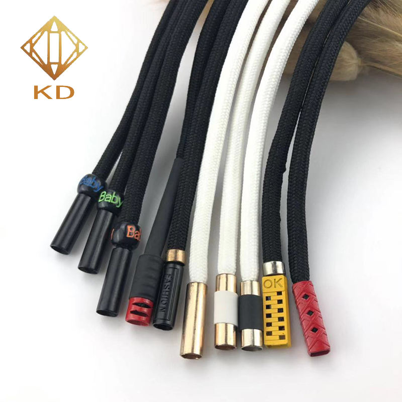 5MM Polyester Braided Round Rope With Metal Tipping End For Hoodie Shoes