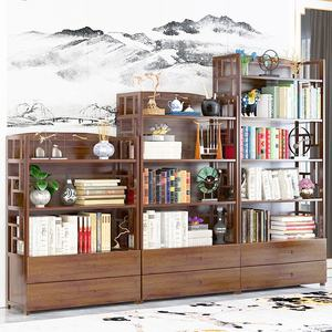 Haichuan Vintage Rustic Reclaimed Solid Wood Furniture Cabinet Wooden Bookcase,Antique Wooden Bookshelf