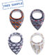 Low MOQ soft cotton 4-Pack set colorful print thick OEM service baby bibs bandana cotton