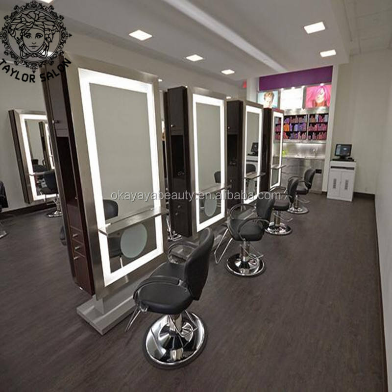 Saloon equipment double side hair salon mirrors stations barber station mirror with LED light