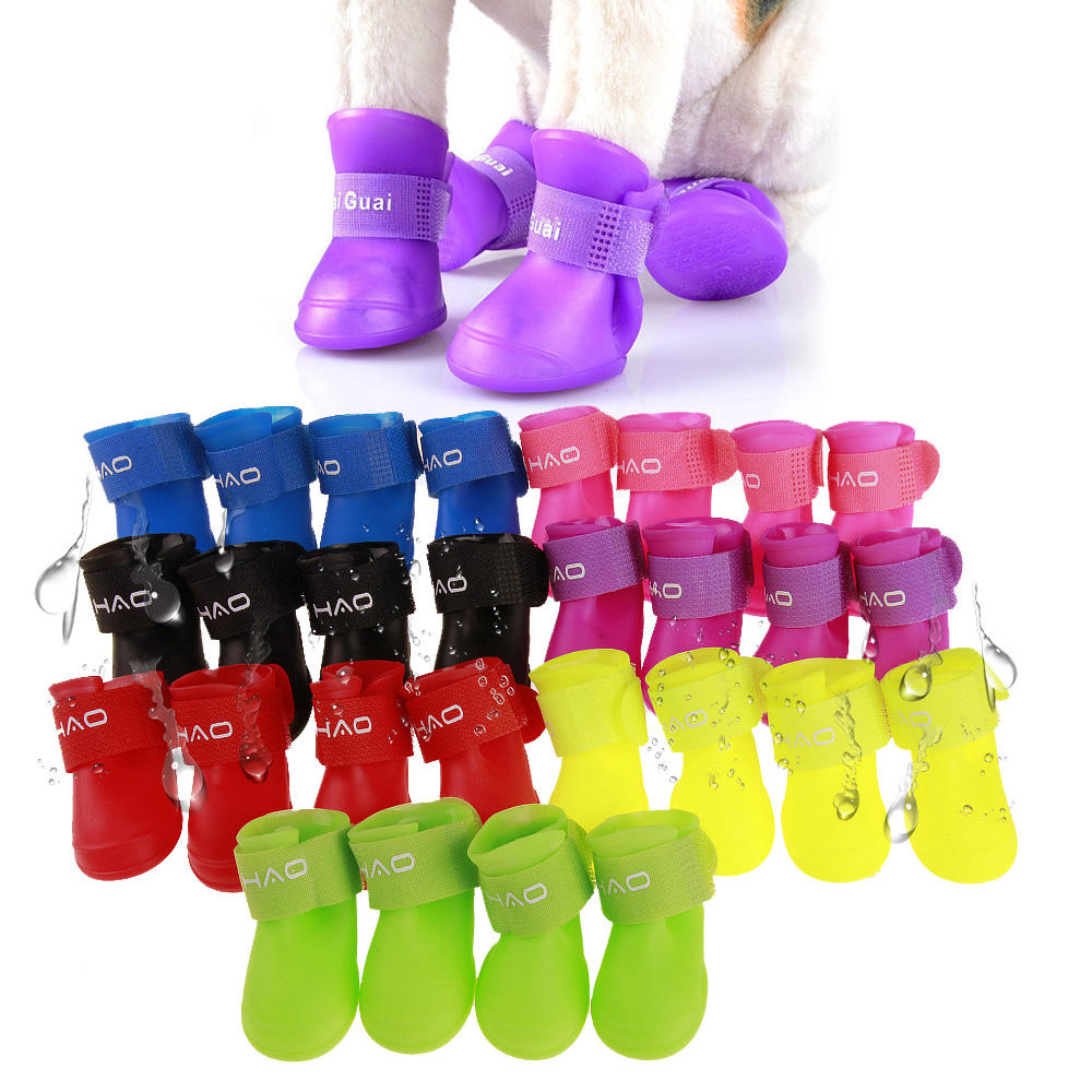Pet Antislip Waterproof Shoes Outdoor Rainboots Silicone Soft Rubber Rain Boot Dog Shoes