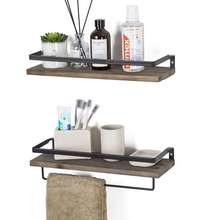 Huashen Floating Shelves Wall Mounted Storage Shelves for Kitchen, Bathroom,Set of 2 Carbonized Black