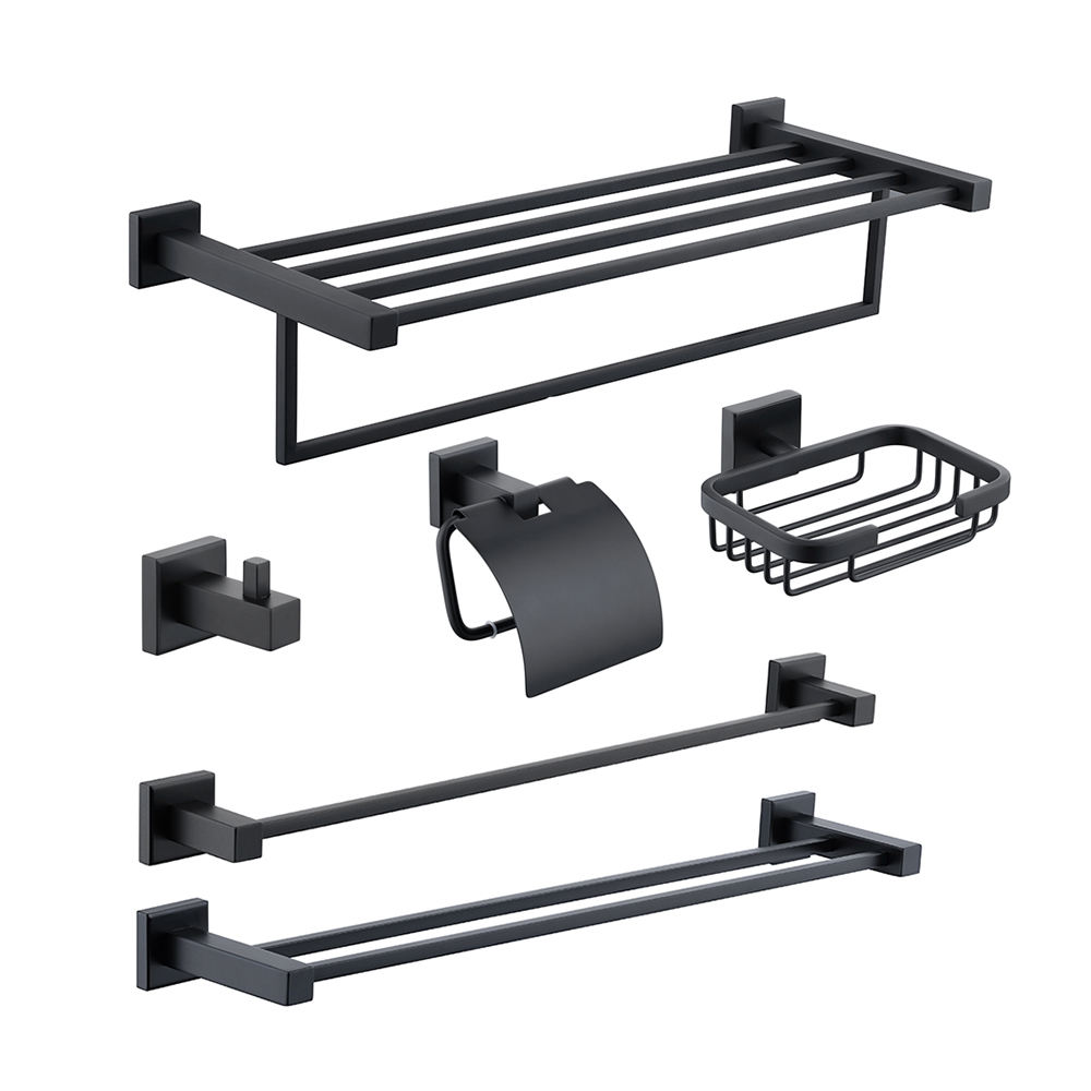 Modern Hotel 304 Stainless Steel Matt Black Bathroom Accessories Set