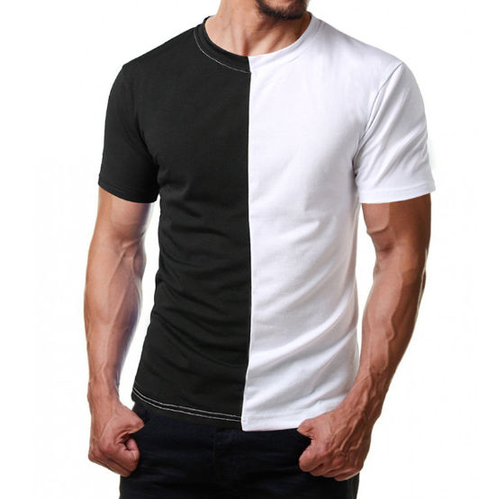 Custom Mens Two Color Block Half Black Half White T cotton Shirt