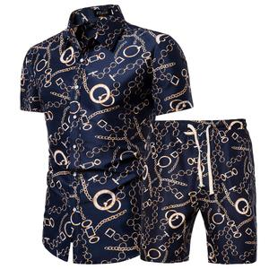 Wholesale Hot Sale Summer All Over Print New Hawaiian Beach Wear Mens Shirts and Shorts Set in Plus Size to 5XL