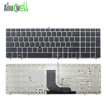 New 8560p 8570p Laptop Internal Keyboard fit for 6560b 6565b 6570b US Keyboards for Laptop Repair Track Point Silver Frame