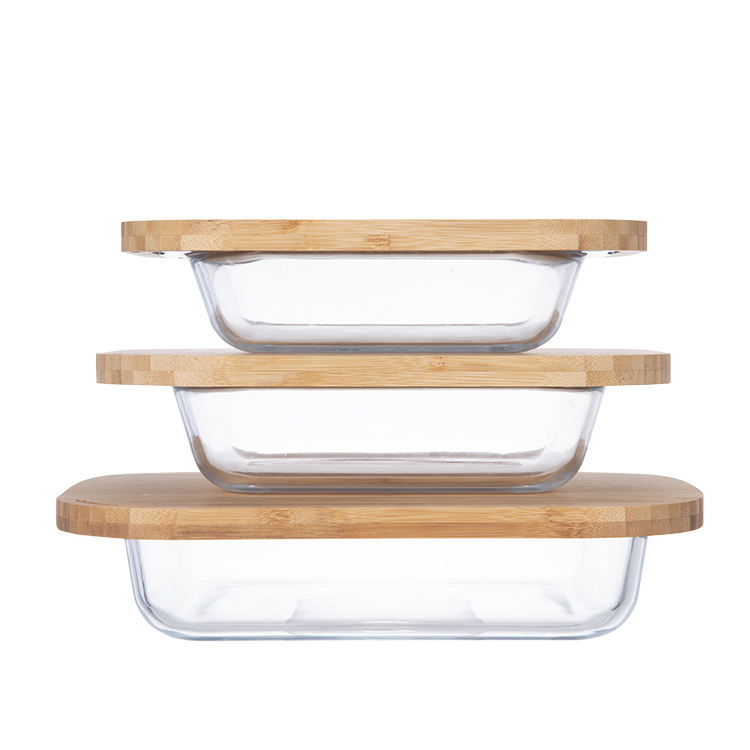 Eco Friendly Sustainable square high borosilicate glass baking tray pans with lid