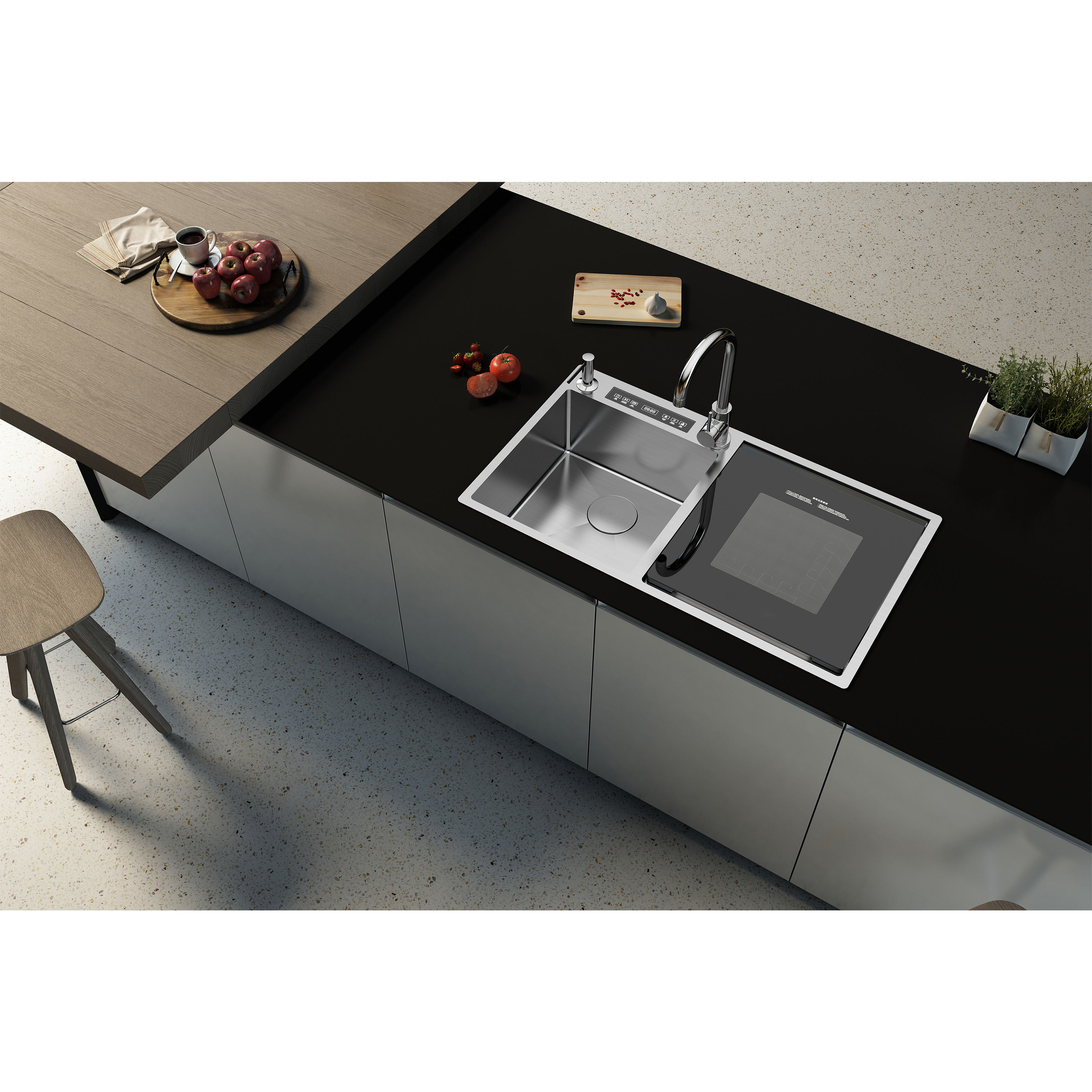 Excellent quality deep 304 stainless steel automatic washing sink