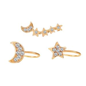 Express Free Shipping 3 Pieces Set Alloy Full Rhinestone Moon Star Designs Ear Cuff For Women Girls Jewelry Earrings Clip