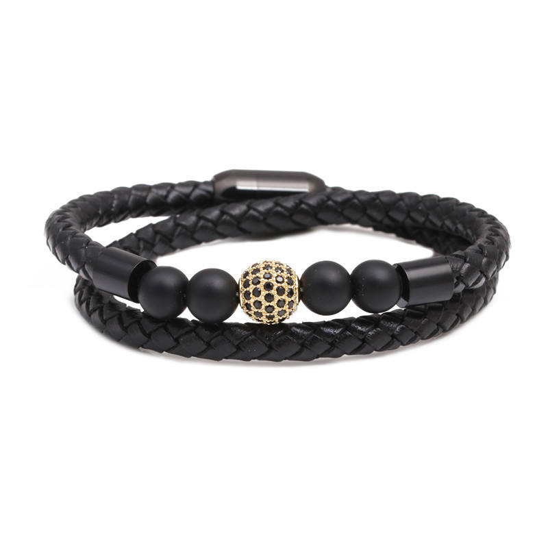 Amazon Fashion Stainless Steel Magnetic Clasp Braiding Genuine Leather Bracelet Natural Stone Bead Bracelet For Men