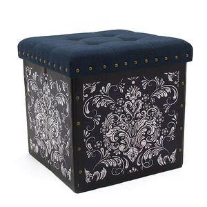 Leather Pouf Folding Storage Ottoman Chair