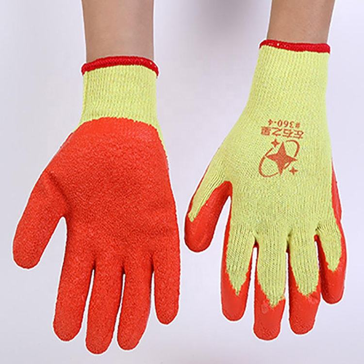 China Latex Hand Gloves Work Seamless Poly Cotton Wrinkle Finish Coated