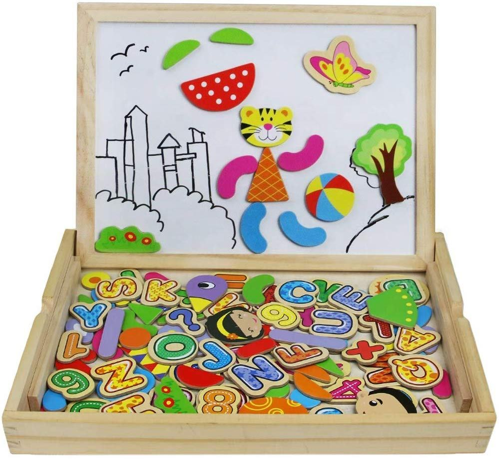 Magnetic Wooden Jigsaw Puzzles Magnetic Fishing Game Drawing Writing Board for Children 3 4 5 6 Years Old