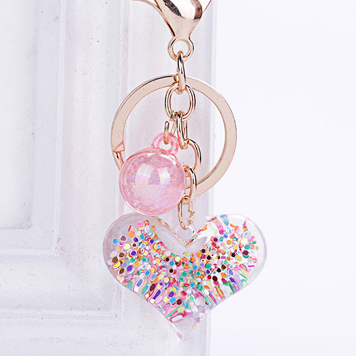 wholesale customizable useful different types of acrylic love heart keychains