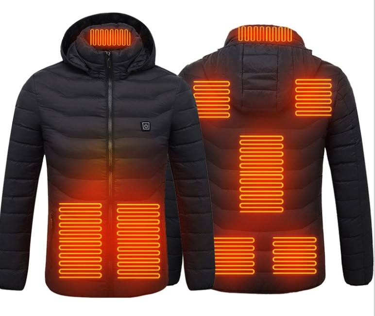 2020 OEM custom logo heated jacket waterproof down jacket puffer coat outdoor warm overcoat power bank charging
