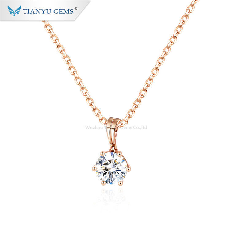 Tianyu gems new fashion necklace 1ct moissanite diamonds 14k rose gold pendant for women