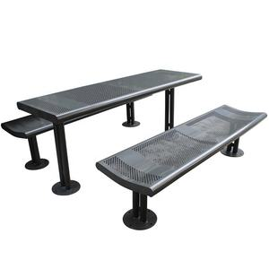 Metal outdoor picnic table and benches set