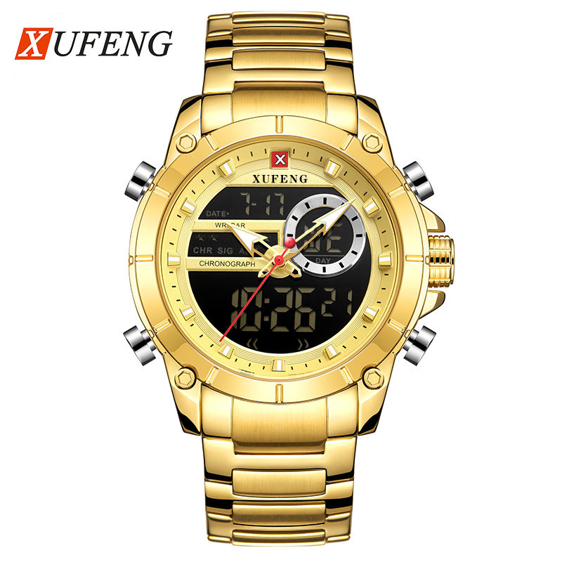 xufeng097 relogio masculino men stainless steel quartz charm Luxury Watch custom logo gold bule mens watches