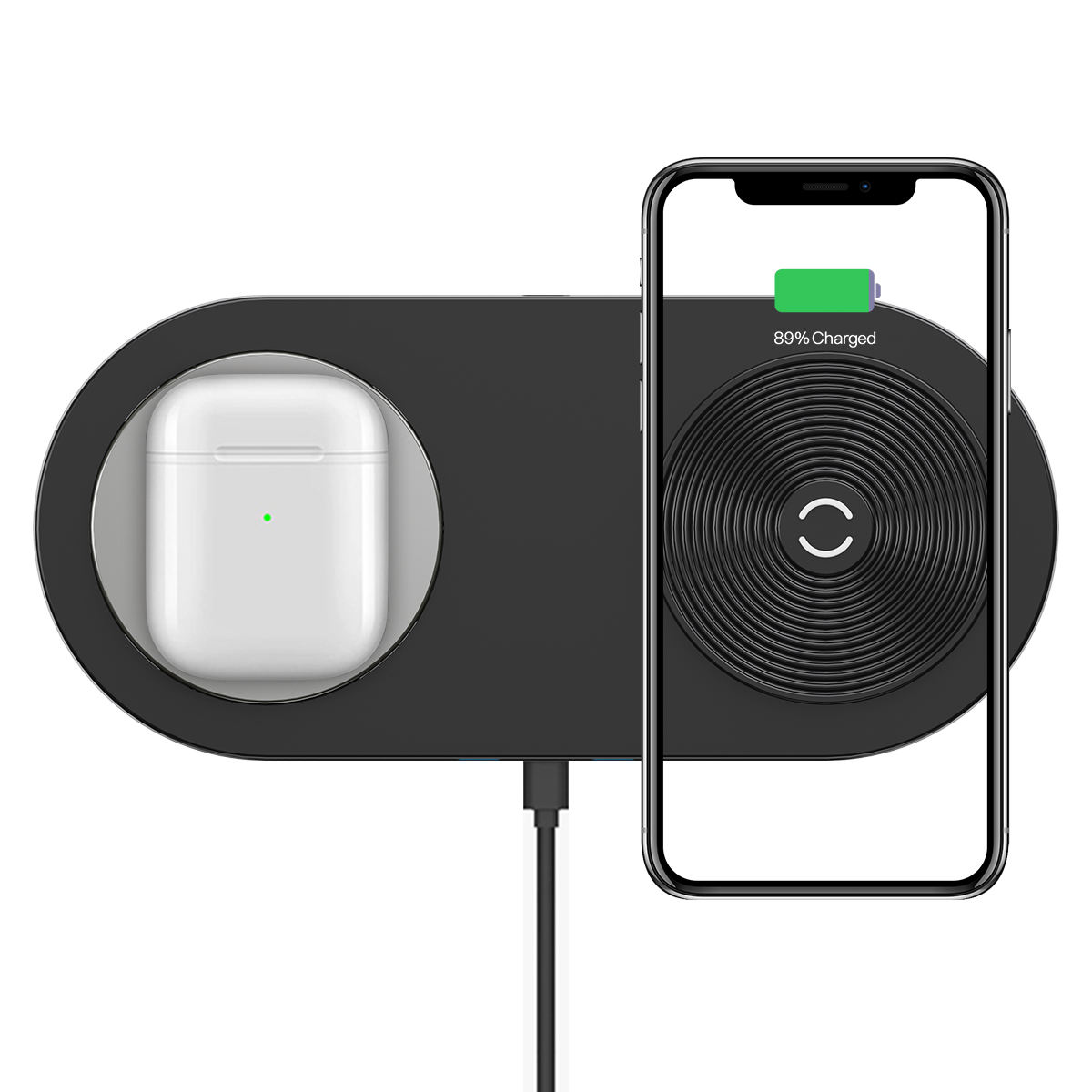 New 2019 Trending Product 12V/2A Dual Wireless Charger Pad Double Desktop Charging Station Fast Charged Two Phones