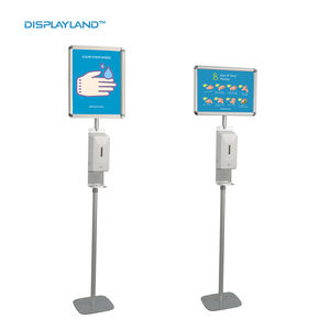 Quality Automatic Touchless Hand Sanitizer Dispenser Floor Stand with Splash Guard and Poster Frame