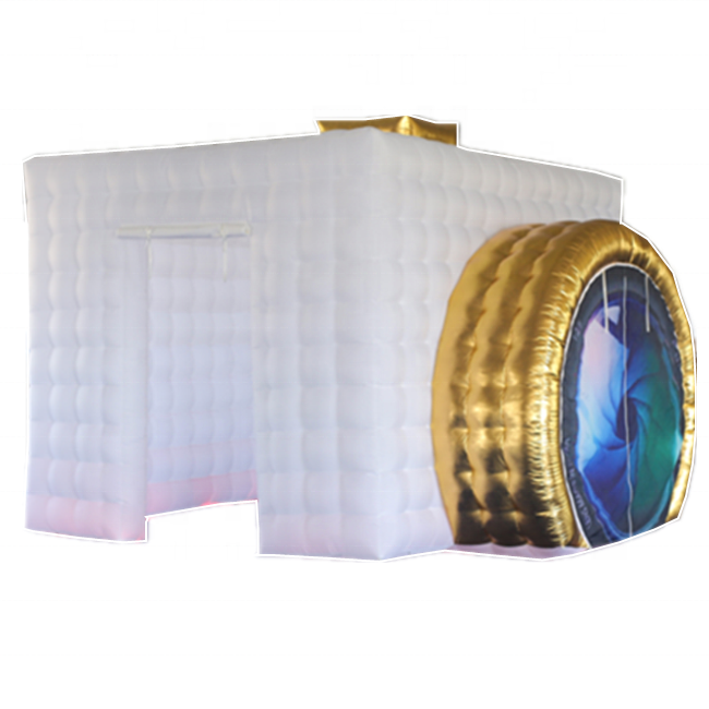 White and Golden Inflatable Camera Photobooth / Inflatable LED Photo booth Enclosure / Portable Inflatable Photo Booth Kiosk