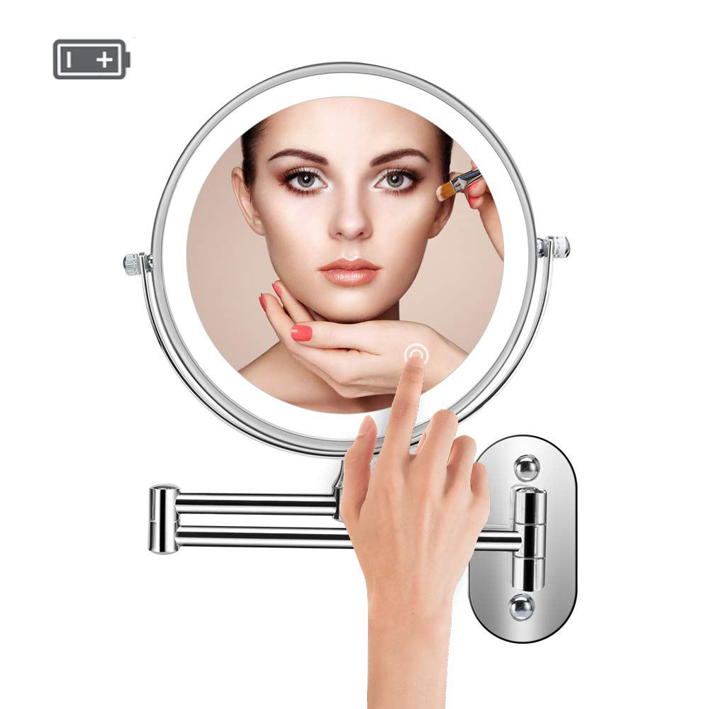 Wall Mounted Battery Powered Led Light Magnifying Mirror 10X Hotel Bathroom Make Up Mirrors