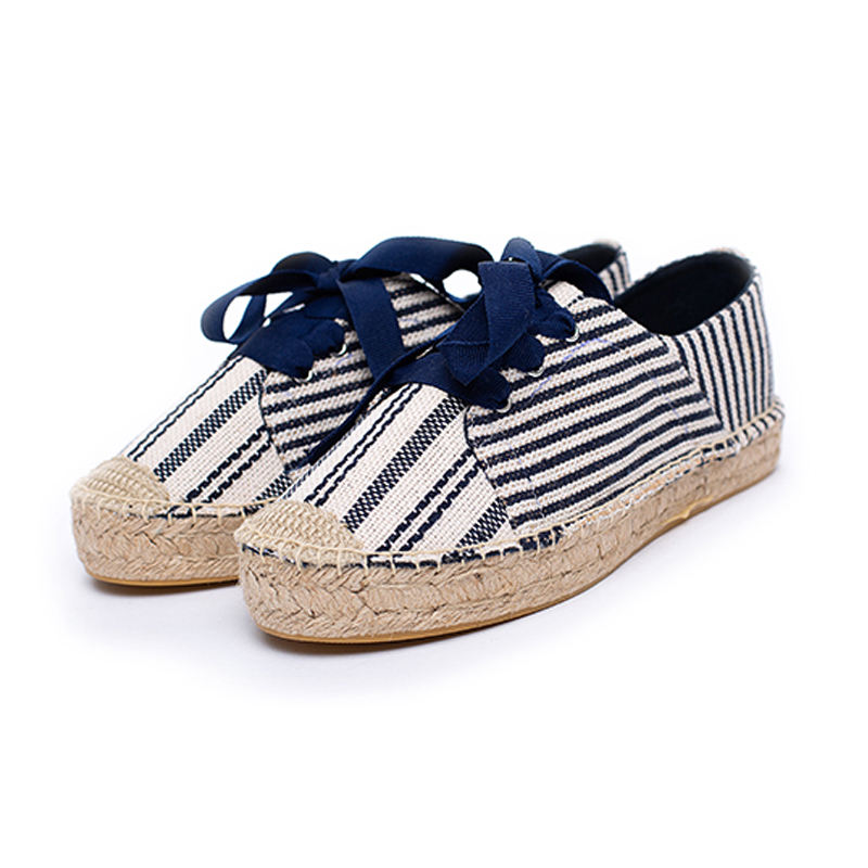 2020 the fashion lady blue stripe lace-up sport espadrilles flat shoes