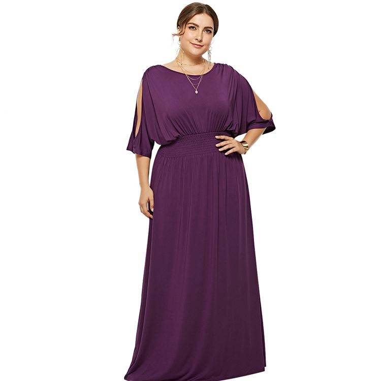 Summer Purple Queen Size Plain Girl Maxi Dress Casual Round Collar And Cut Out Detail