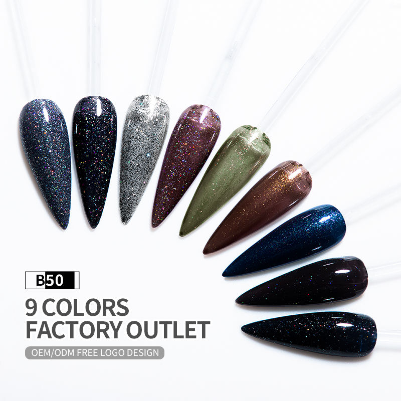 New china products B50 Black diamonds flash powder nail gel polish kit professional uv color gel