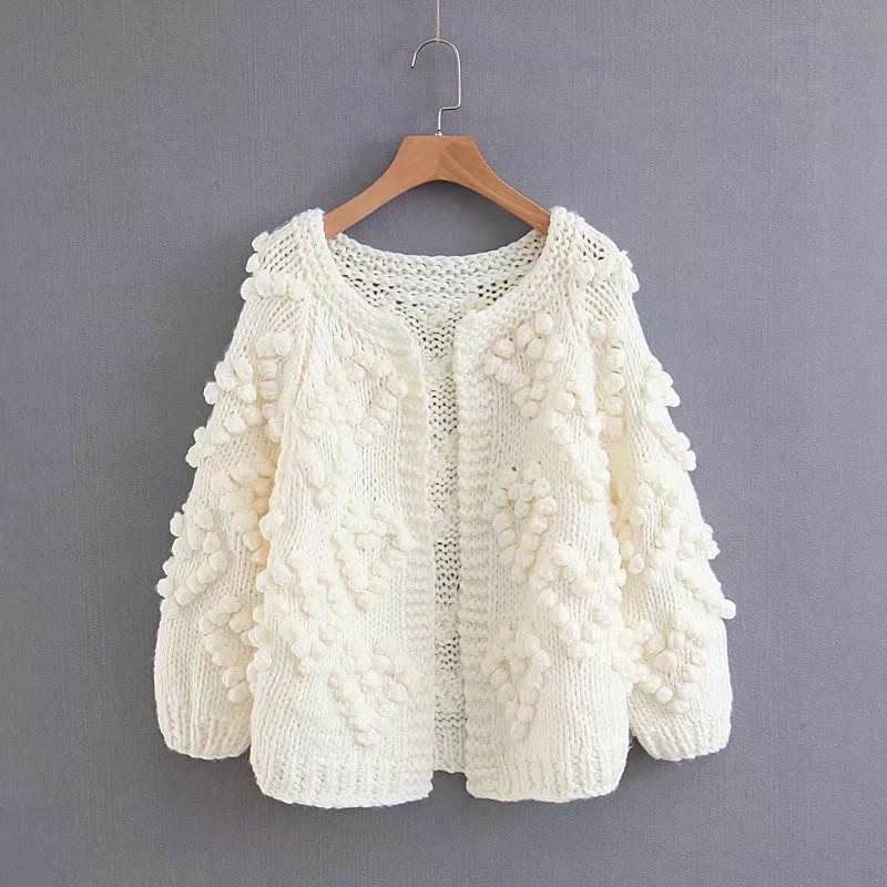 Open Stitch Top thick lantern sleeve ladies loose short Coarse Knit Rough crochet women ball ball hand sweater cardigan