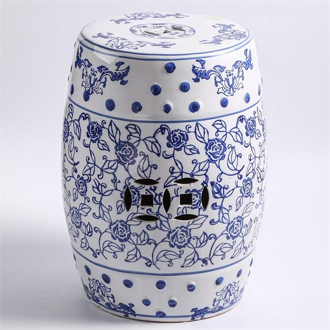 18 inch round blue and white ceramic chinese stool