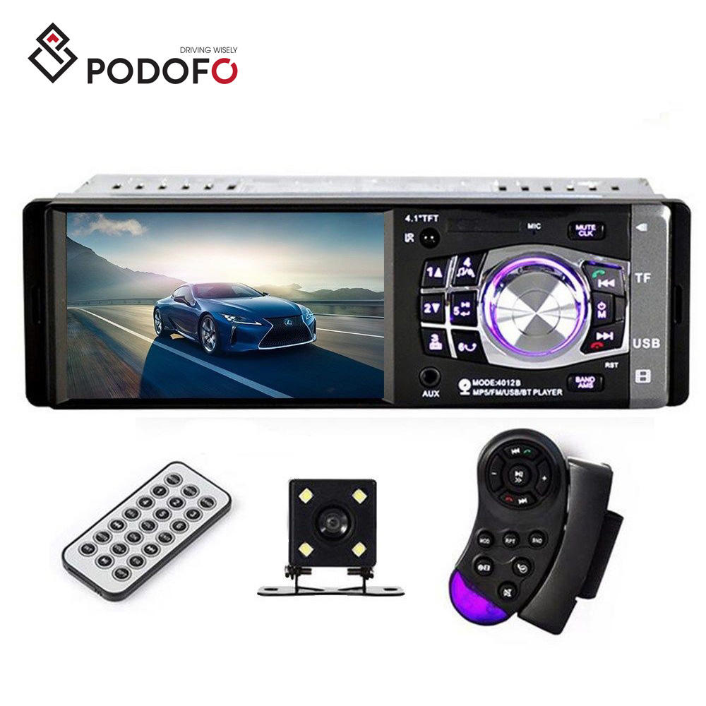 "Podofo 1 Din 4.1"" BT In-Dash Stereo Radio Car MP5 Player 4012B with Steering Wheel Control + 4 LED Backup Camera"