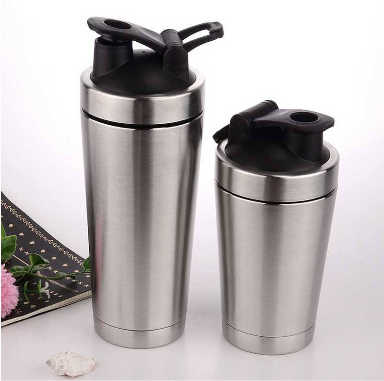 High quality custom logo protein shaker bottle with mixing ball insulated stainless steel shaker bottle
