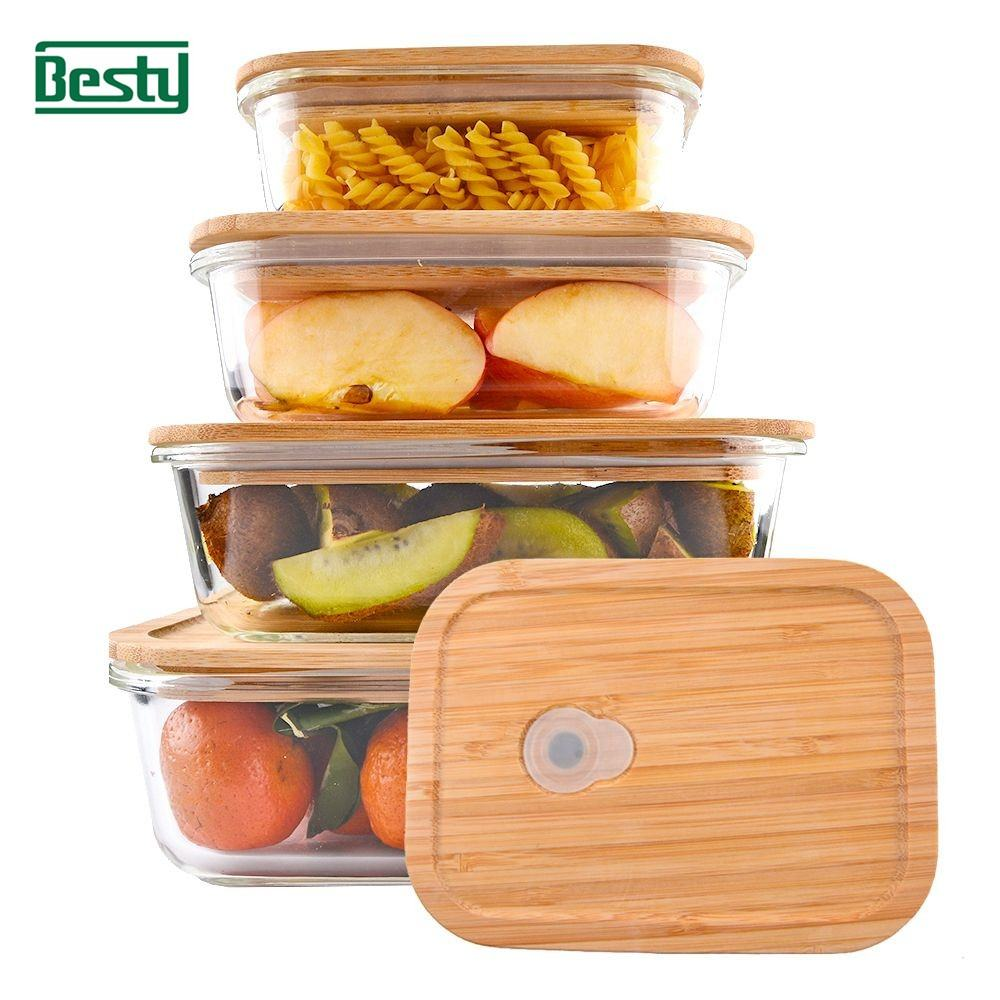 Besty leakproof bamboo airtight tableware glass food container / lunch box / glass storage with silicone vent