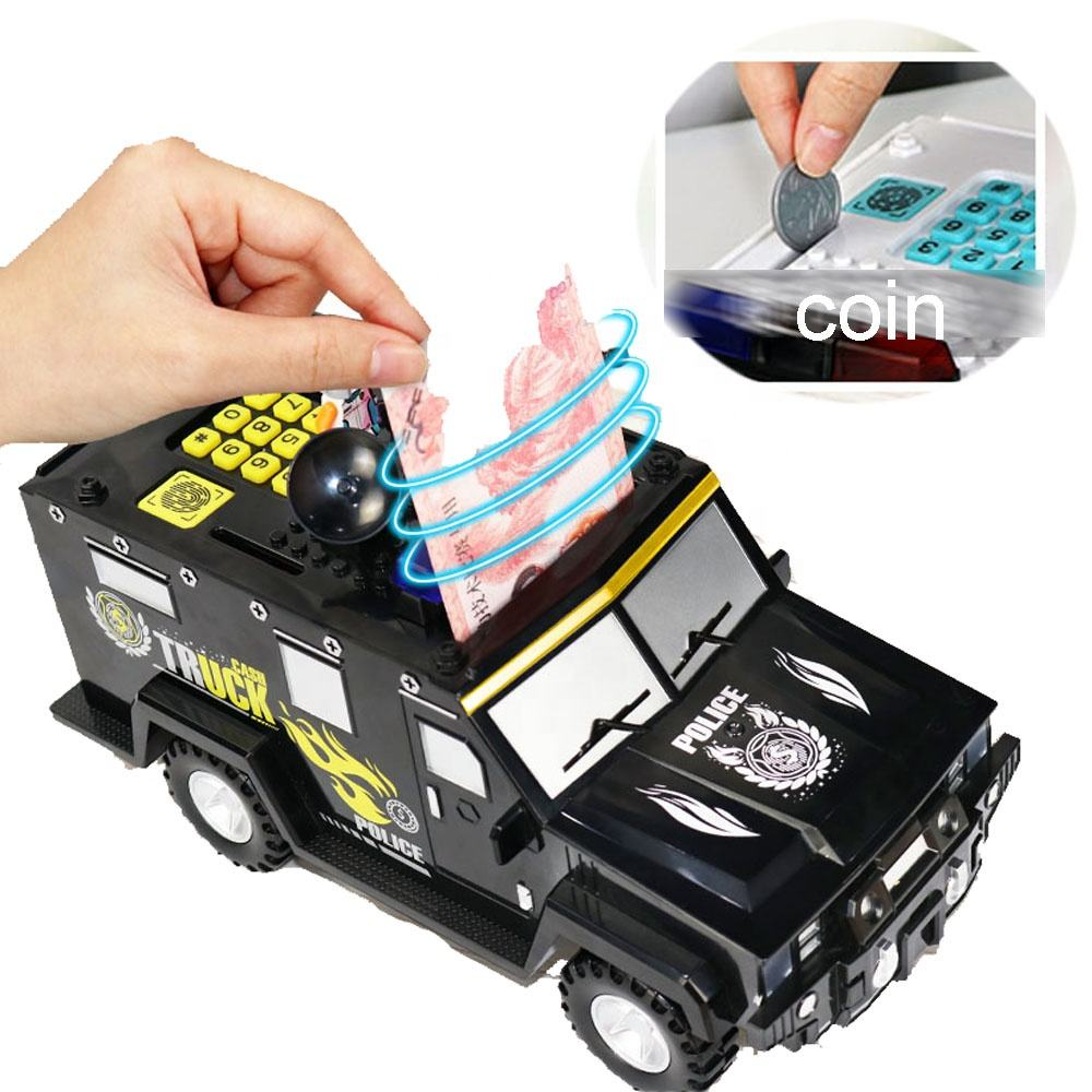 Automate coin cash carriers roll money building block police truck electronic atm piggy bank toy money safe box with password