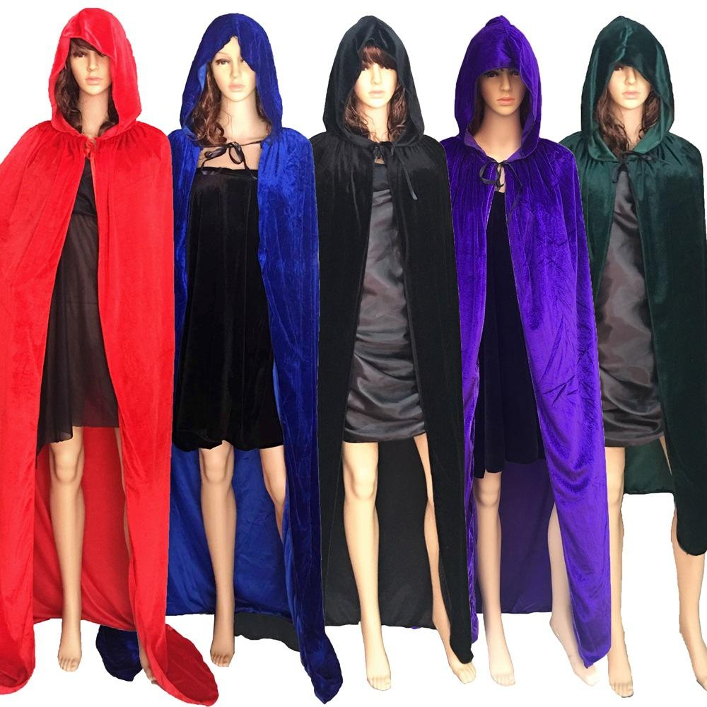 Solid Color Halloween Party Velvet Cloak Pull Over Pluvial and Festival Mantle for Adult