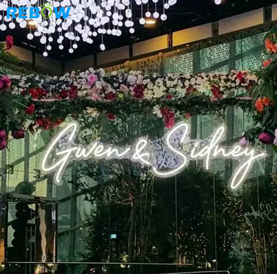 Drop Shipping Hot beautiful romantic name custom led neon light sign for wedding decoration
