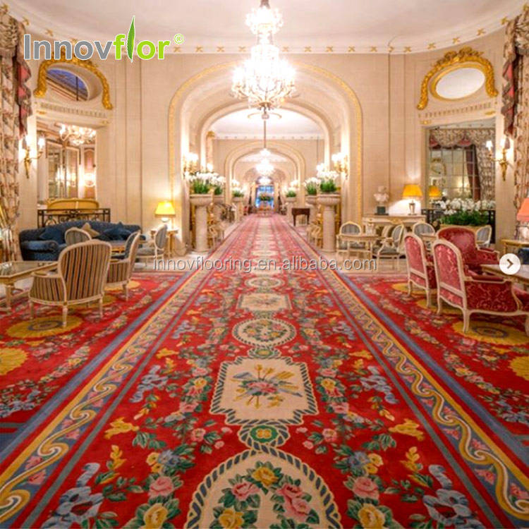 Tapis Rouge Chromojet Tapie De Chambre Polyester Roll Fancy Gold Blue Nylon Printed Fireproof Banquet Room Hotel Carpet