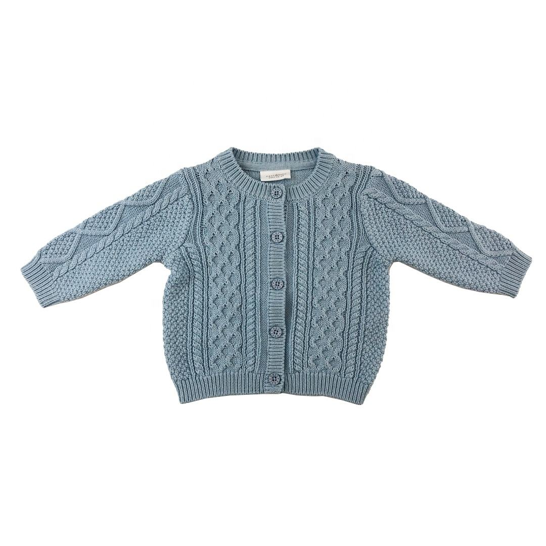 ODM thick customized o-neck sweater solid cable baby boy knitted cardigan