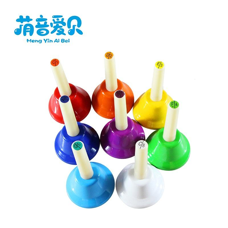 education toy musical instrument 8 tone hand bells set for kids