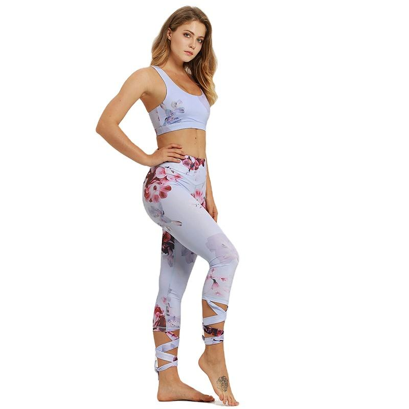 OEM Custom Women floral Workout Leggings woman waisted sports bra and legging set woman
