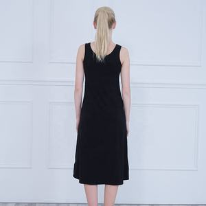 Women's summer dress long version of the Korean version sleeveless vest skirt round neck one-step skirt black skirt
