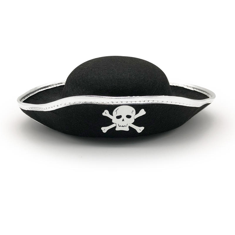 new black wool felt toppirate suede Ghost fedora hat blanks without feather for mens wool skeleton printing pirate Captain hat