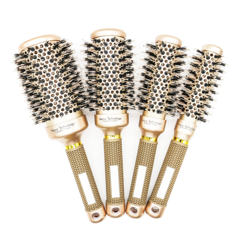 [ Ceramic Hair Brush ] Custom Private Label Ceramic Mens Round Barrel Handle Curly Hair Blow Drying Round Brush Set Cylinder Comb Rolling Hair Brush