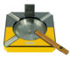 MDF Yellow Carbon Fiber Matte Wood Cigar Ashtray with Metal Plate and Cigar