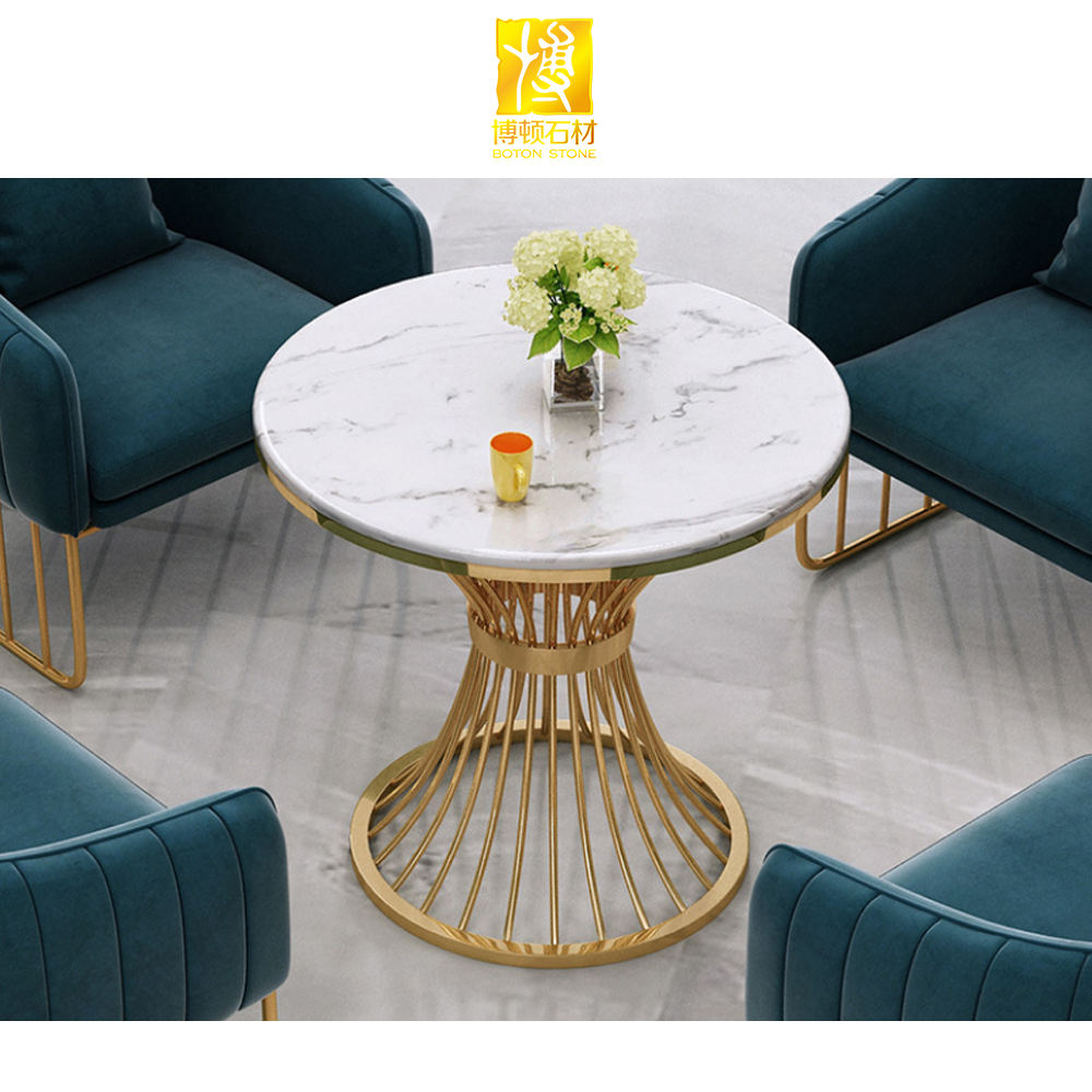 Popular round marble top dining tables set table dining