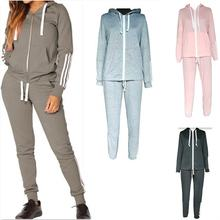 Zipped two piece jogger set hot selling african female hoodies