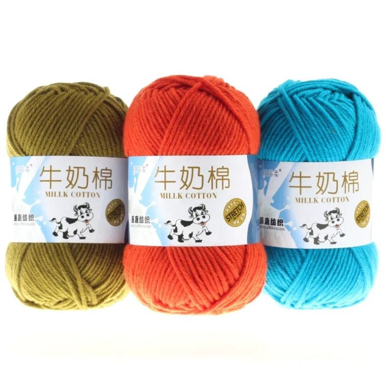 4 plys knitting yarn, single 91 colors choose baby yarn milk silk cotton chunky yarn